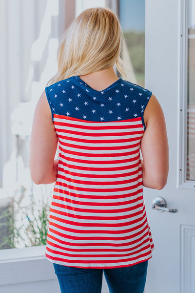 Let's Celebrate Independence Patriotic Tank Top in Red/White/Blue - Filly Flair