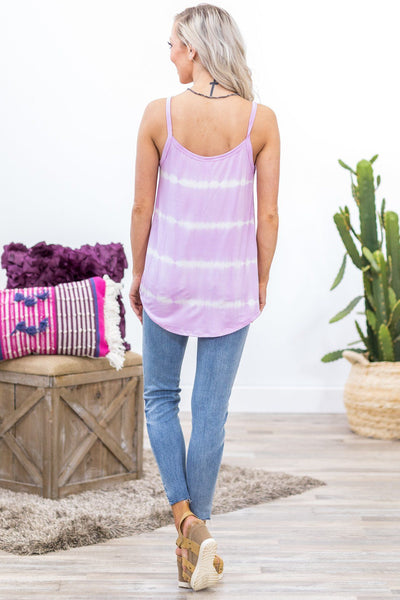 Spring Vacation Tie Dye Knotted Tank in Lavender - Filly Flair