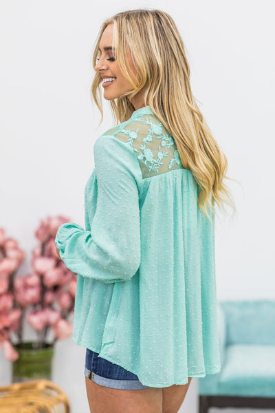 Slow It Down Long Sleeve Button Down Lace Blouse In Mint - Filly Flair