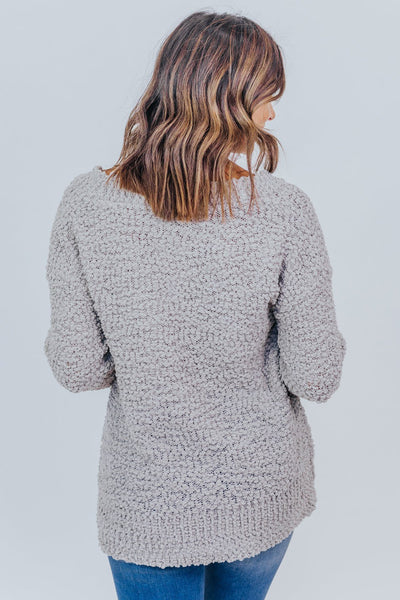 Just Living Life Popcorn V-Neck Long Sleeve Top in Light Grey - Filly Flair