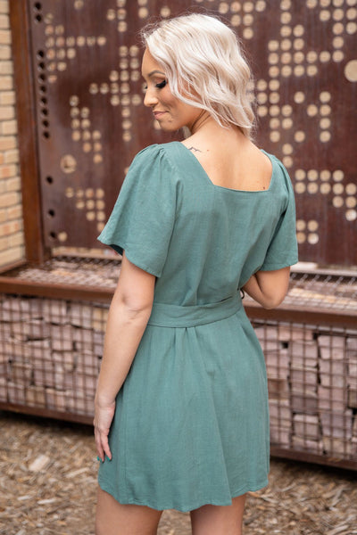 Sing With Me Short Sleeve Button Up Tie Dress in Sage - Filly Flair