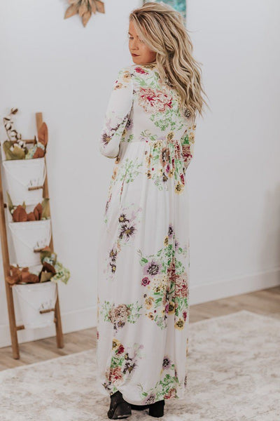 *DEAL* Consider Me Gone Floral Maxi Dress in Ivory - Filly Flair