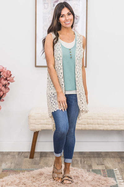 You're Mine Crochet Vest in Beige - Filly Flair