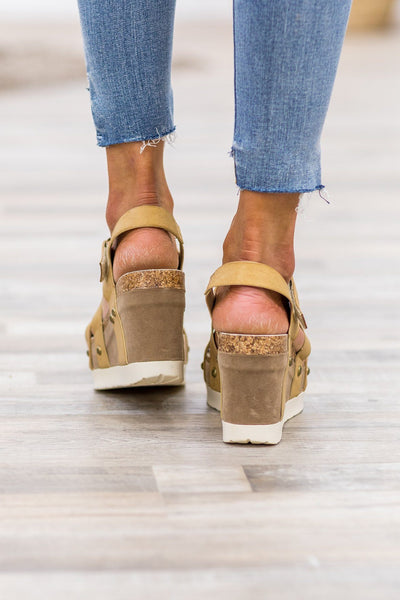 Walk By Me Platform Wedge Sandals in Tan - Filly Flair
