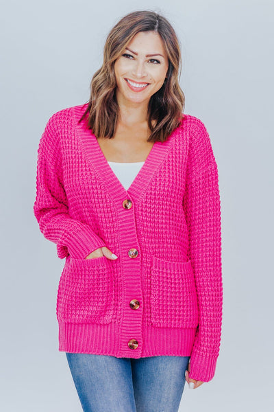 Be Who You Are Waffle Sweater With Pocket Cardigan in Hot Pink - Filly Flair