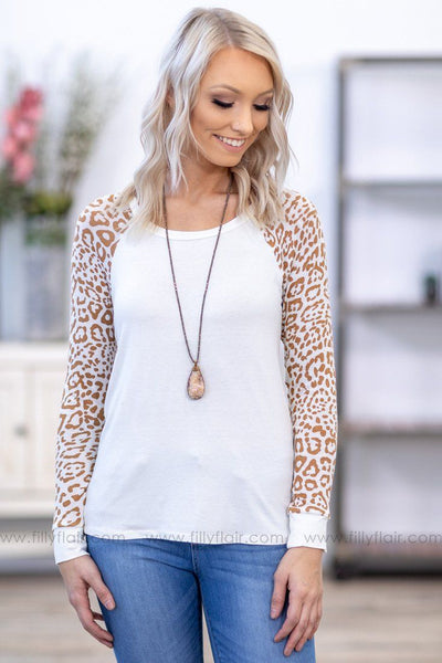 Find Me Wild Brown Animal Print Long Sleeve Top in White - Filly Flair