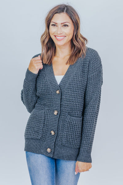 Be Who You Are Waffle Sweater With Pocket Cardigan in Charcoal - Filly Flair