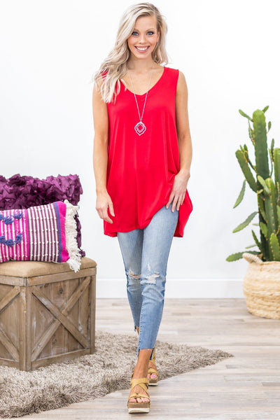 Every Day With You Basic Pocket Tank Top in Red - Filly Flair