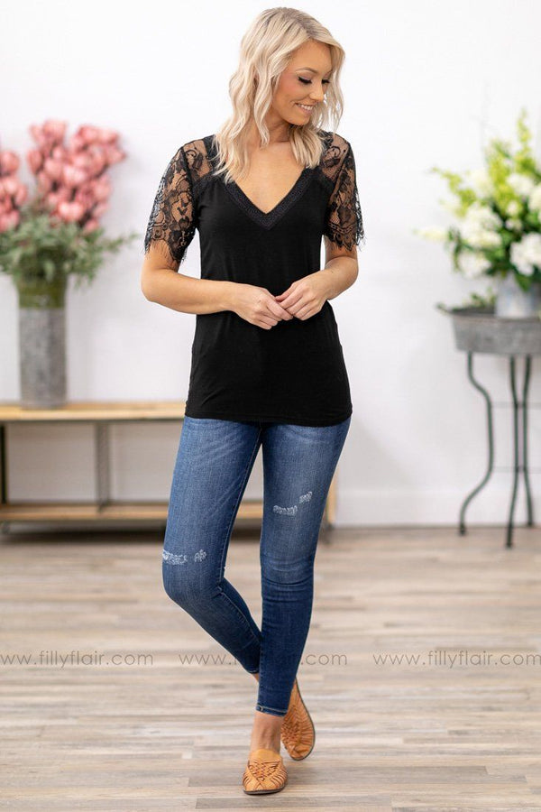 POL: Never Let You Go Short Lace Sleeve V-Neck Top in Black - Filly Flair