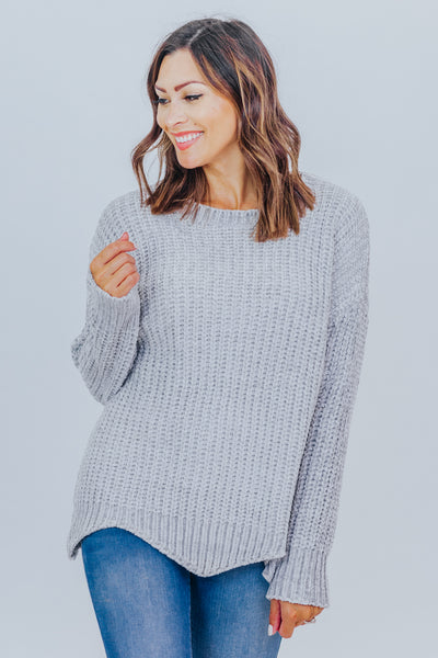 Good Kind of Chunky Scalloped Hem Chenille Sweater in Light Grey - Filly Flair