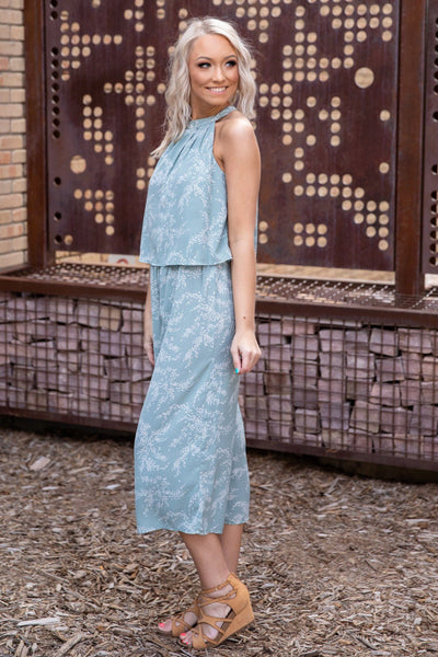 Life Changes Sleeveless Halter Printed Jumpsuit in Sage White - Filly Flair