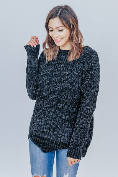Good Kind of Chunky Scalloped Hem Chenille Sweater in Black - Filly Flair