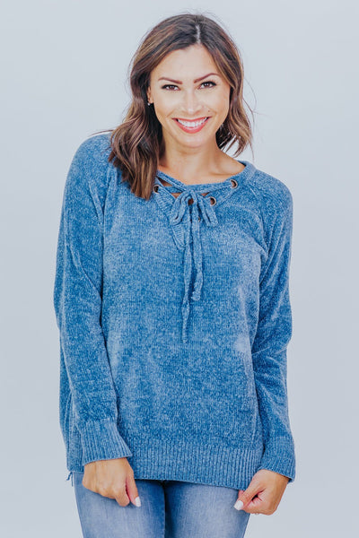 Say Something Positive Lace Up Long Sleeve Top in Blue - Filly Flair