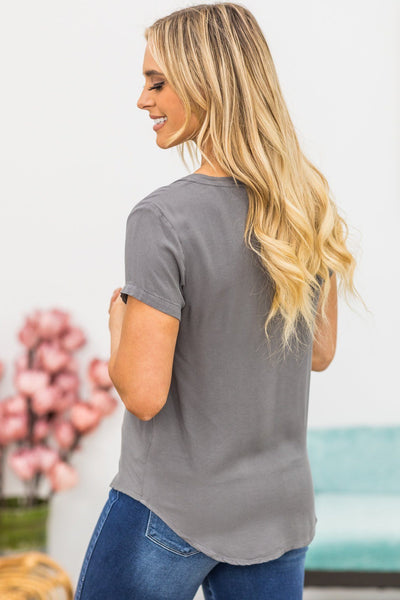 Finding The Courage V Neck in Grey - Filly Flair