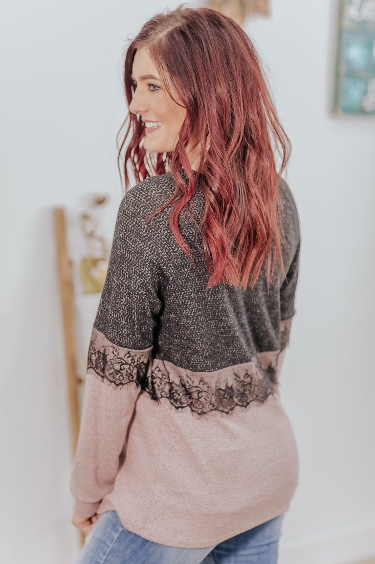 Only Clear Eyes Color Block Lace Long Sleeve Top in Mauve