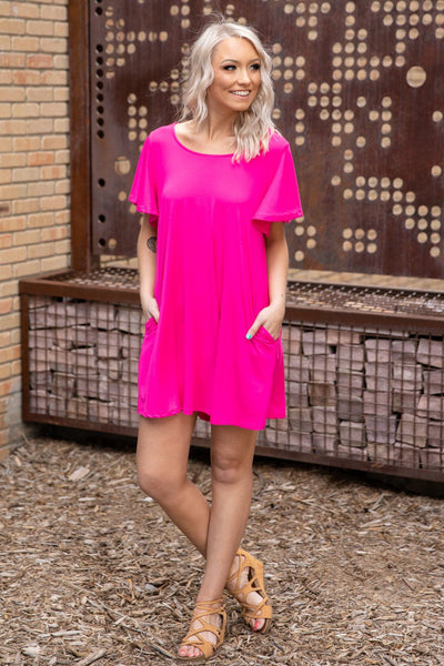 Always A Rainbow Short Sleeve Open Tie Back Pocket Dress in Fuchsia - Filly Flair