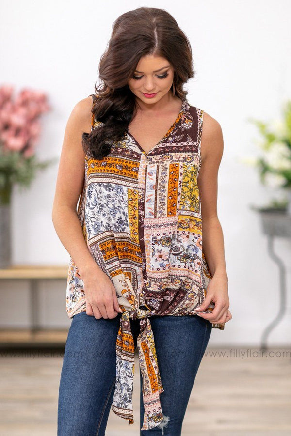 Boho Dreams Printed Sleeveless Tie Top in Rust Ivory Mustard - Filly Flair