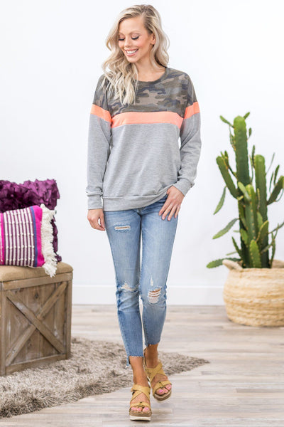 On the Road Again Color Block Top in Camo Coral Grey - Filly Flair