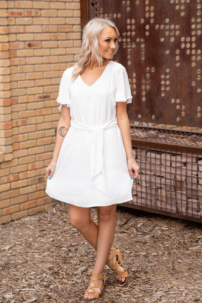 #ST3# All Get Along Short Flutter Sleeve Tie Waist Dress in White - Filly Flair