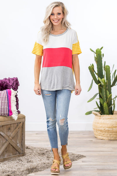 Fall in Love Short Sleeve Color Block Striped Top In Coral - Filly Flair