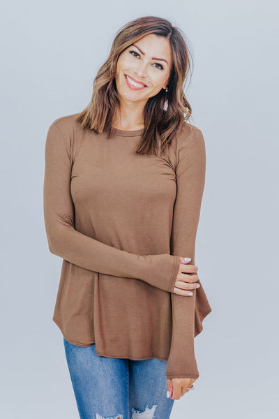 New Day Long Sleeve Top in Coffee - Filly Flair