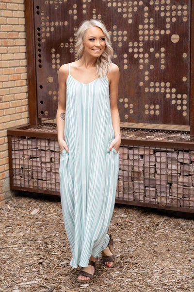 More Than Just You Sleeveless Striped Boho Maxi Dress in Seafoam White - Filly Flair