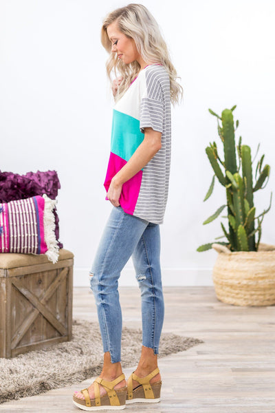 Fall in Love Short Sleeve Color Block Striped Top in Aqua Fuchsia - Filly Flair