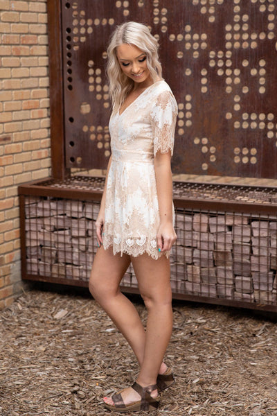 Really Get Me Short Sleeve Lace V-Neck Romper in Ivory Cream - Filly Flair