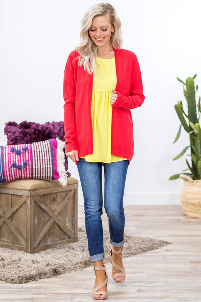 New Hope Long Sleeve Pointelle Cardigan in Coral - Filly Flair