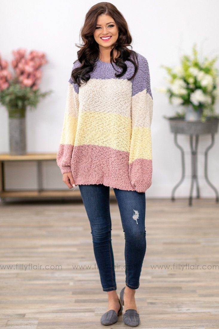 7d242dab958 Like a Love Song Long Sleeve Color Block Popcorn Sweater in Purple Mauve