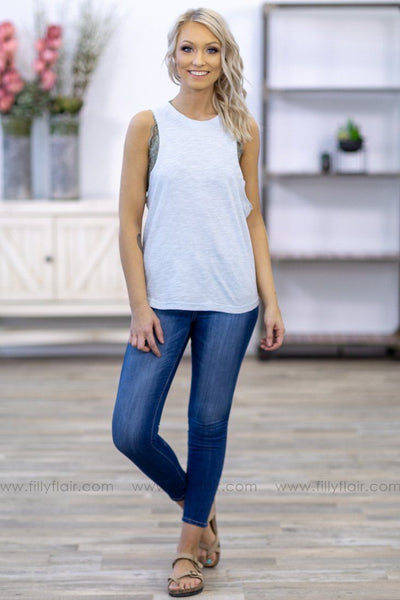 Get To It Ladder Cutout Back Tank Top in Light Blue - Filly Flair