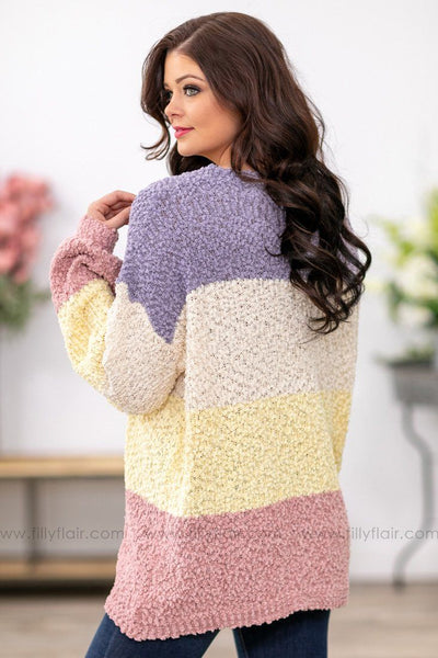 Like a Love Song Long Sleeve Color Block Popcorn Sweater in Purple Mauve - Filly Flair