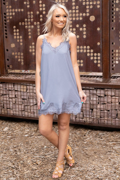 #ST1# To My Surprise Sleeveless V-Neck Lace Trim Dress in Slate - Filly Flair