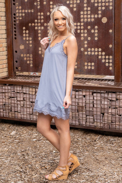 To My Surprise Sleeveless V-Neck Lace Trim Dress in Slate - Filly Flair