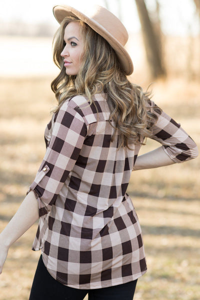 My New Favorite Plaid V-Neck 3/4 Sleeve Top in Mocha - Filly Flair