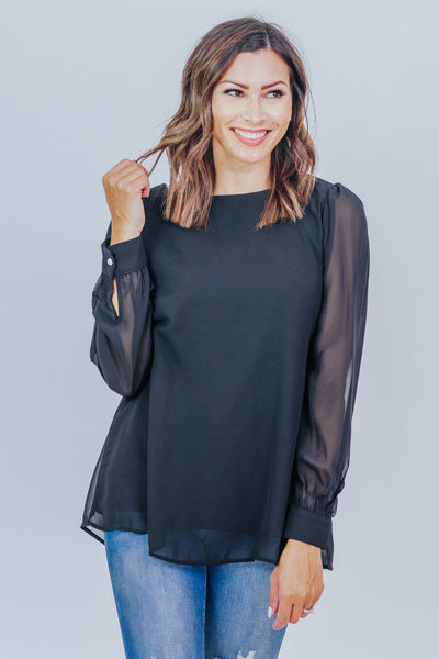 We've Come So Far Long Sleeve Blouse in Black - Filly Flair