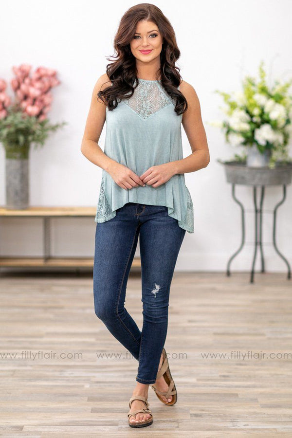 POL: Tell Me How It Is Lace Detail Tank Top in Sage - Filly Flair
