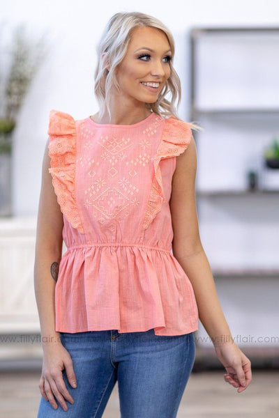 How It Is Sleeveless Ruffle Embroidered Top in Coral - Filly Flair