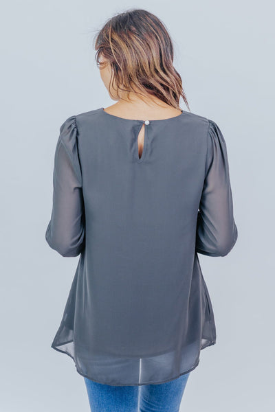 We've Come So Far Long Sleeve Blouse in Ash Grey - Filly Flair