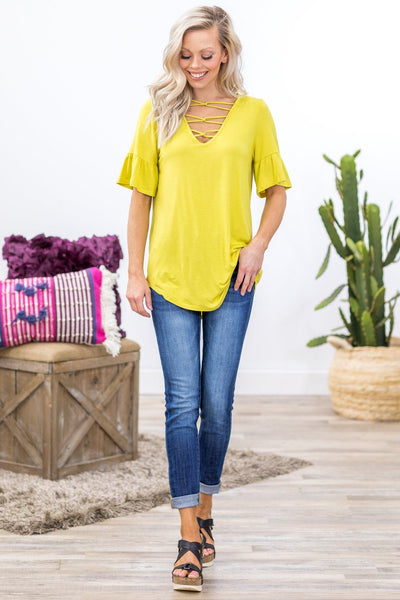 Gettin' Somewhere Criss Cross Ruffle Top in Chartreuse - Filly Flair