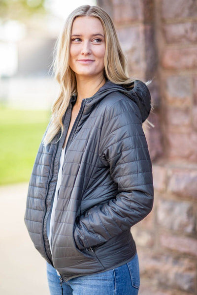 Taking the Journey Hooded Jacket in Charcoal - Filly Flair