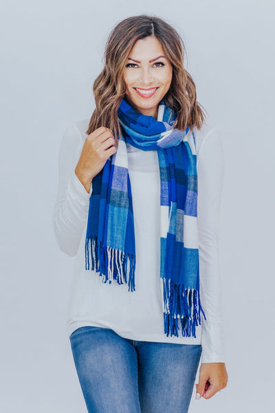 Your Warm Embrace Plaid Blanket Scarf in Blue/White - Filly Flair