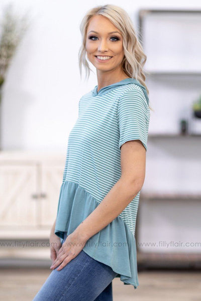 Just The Way It Is Short Sleeve Striped Hi Low Hooded Top in Dusty Blue - Filly Flair