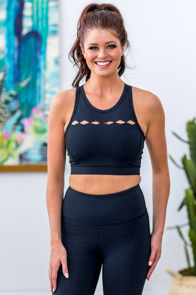 Row of Rhombus High Chest Sports Bra in Black - Filly Flair