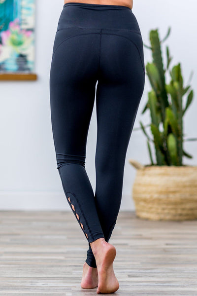 Row of Rhombus High Waist Cut Out Leggings in Black - Filly Flair