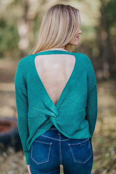 Addicted Knit Long Sleeve Open Back Twist Top in Jade Green - Filly Flair
