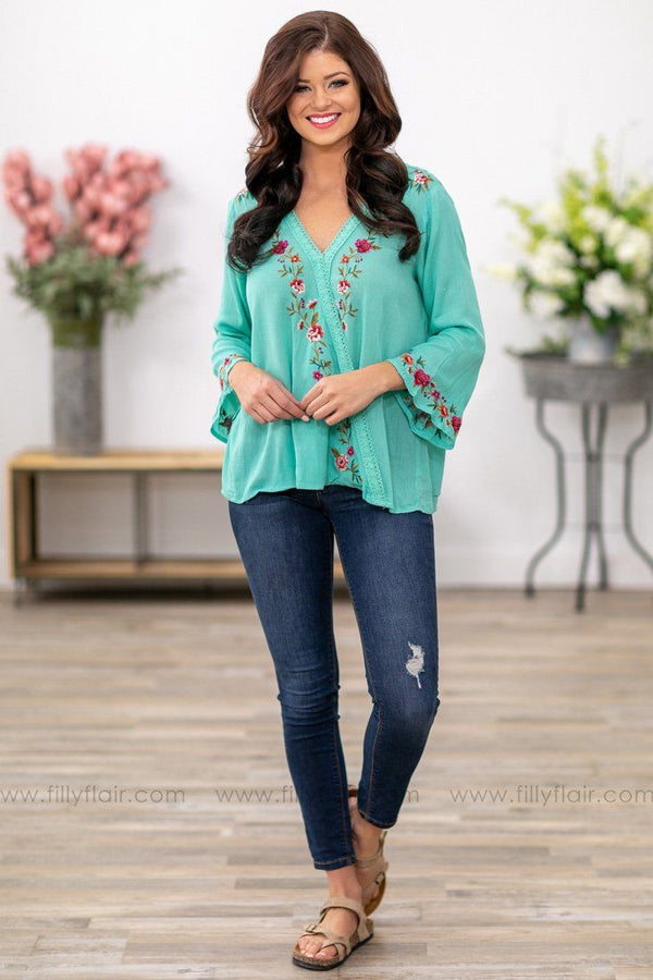 Feel This Way Bell Sleeve Floral Embroidered Top in Turquoise - Filly Flair