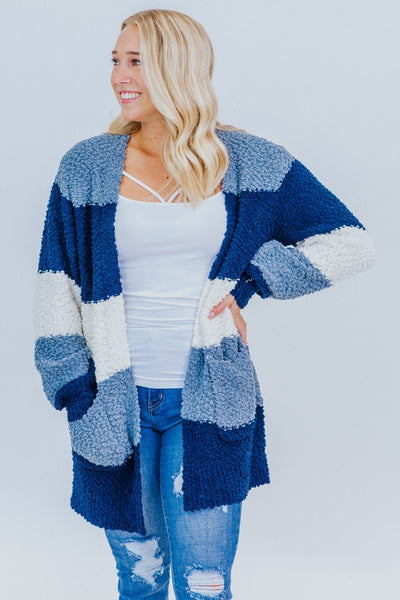 Making My Own Path Color Block Popcorn Cardigan in Blue - Filly Flair