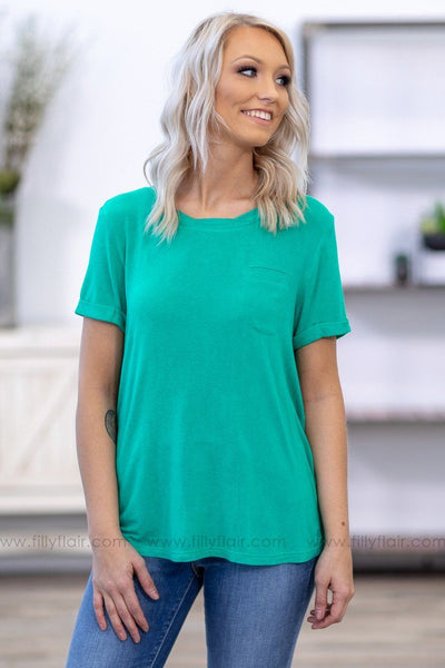 Ready To Go Short Sleeve Chest Pocket Top in Jade - Filly Flair