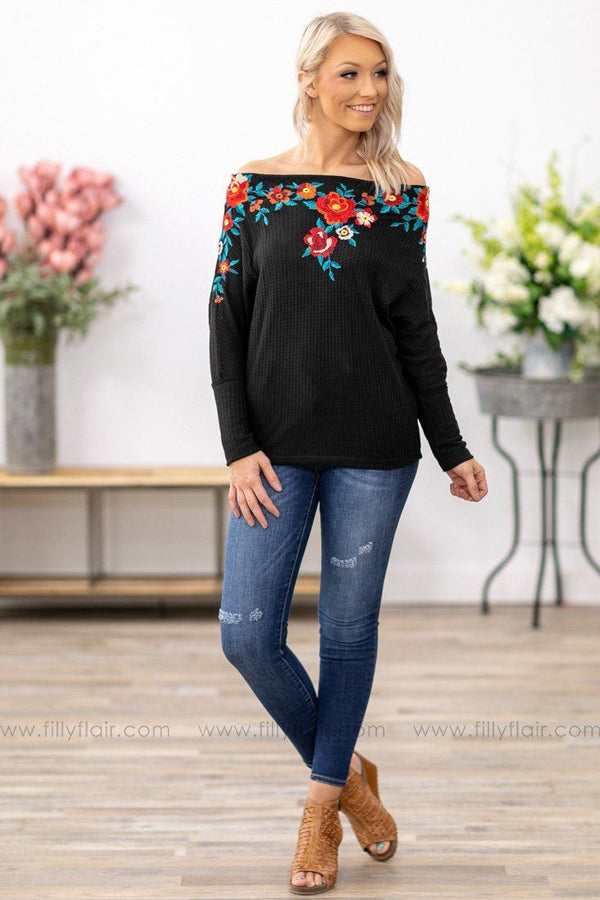 Different For Girls Floral Embroidered Off the Shoulder Top in Black - Filly Flair